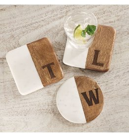 Mud Pie Initial Marble & Wood Coaster Set
