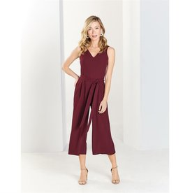 Mud Pie Adelynn Wide Leg Cropped Jumpsuit in Pinot
