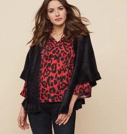 Tribal Ruby Leopard Bell Sleeve Blouse
