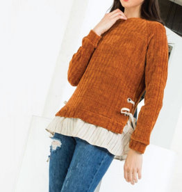 THML Lizzie Woven Frill Trim Sweater