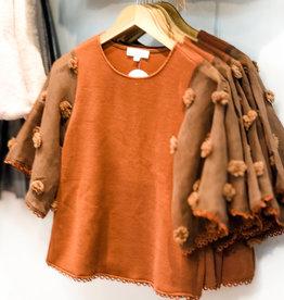 THML Orange Pom Sleeve Knit Top