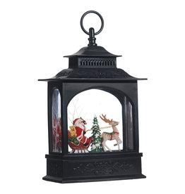 Raz Imports Santa In Sleigh Water Lantern Black