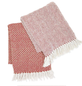 Two's Company, Inc. Red, white and gold throw blanket