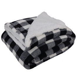 White & Black Buffalo Plaid Fleece Blanket