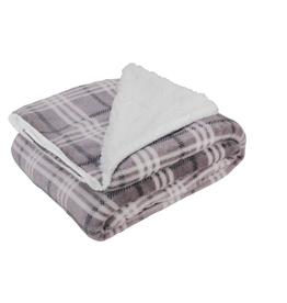 Opportunities Grey Plaid Fleece Blanket