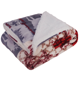 Holiday Print Sherpa Fleece Blanket