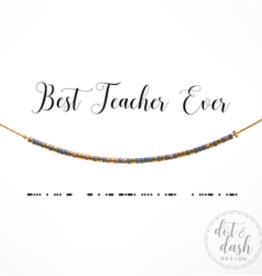 Dot & Dash Design Best Teacher Ever Morse Code Necklace