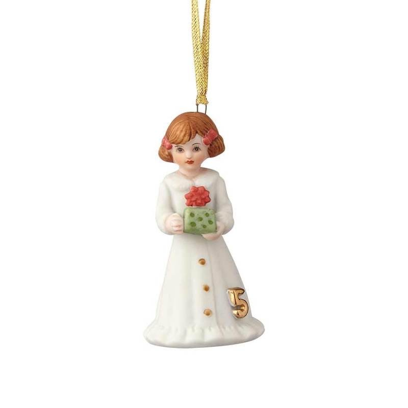 GROWING UP GIRLS COLLECTIBLE  ORNAMENT BRUNETTE AGE 5