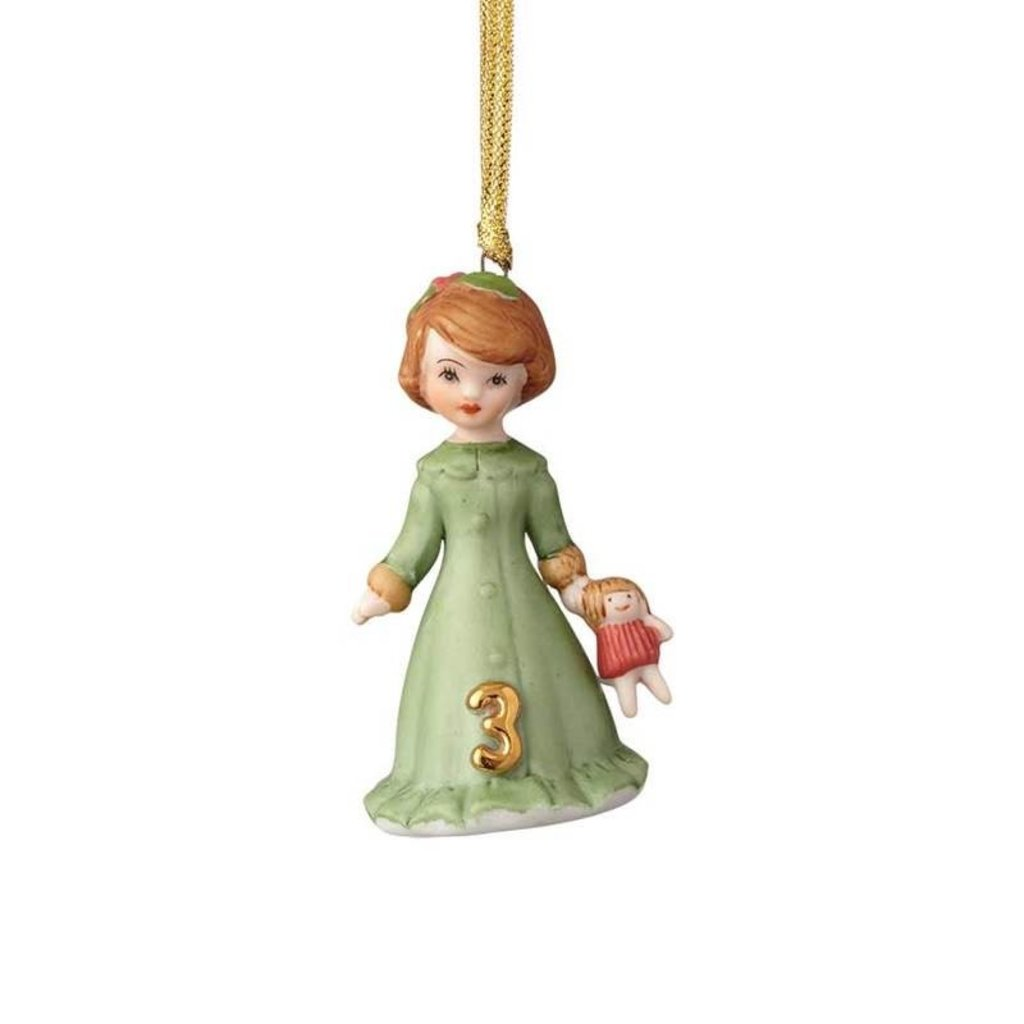 GROWING UP GIRLS COLLECTIBLE  ORNAMENT BRUNETTE AGE 3