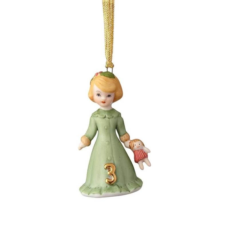GROWING UP GIRLS COLLECTIBLE  ORNAMENT BLONDE AGE 3