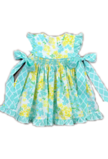 TRUE FLORAL SMOCKED GEO BISHOP DRESS