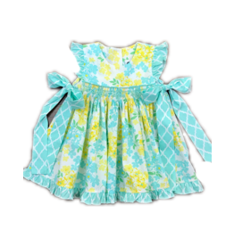 TRUE FLORAL SMOCKED GEO BISHOP DRESS