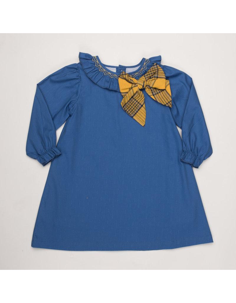 THE OAKS APPAREL COMPANY BEATRICE BLUE MUSTARD DRESS