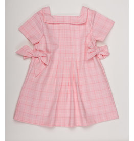 THE OAKS APPAREL COMPANY JADE PINK CHECK BOW DRESS