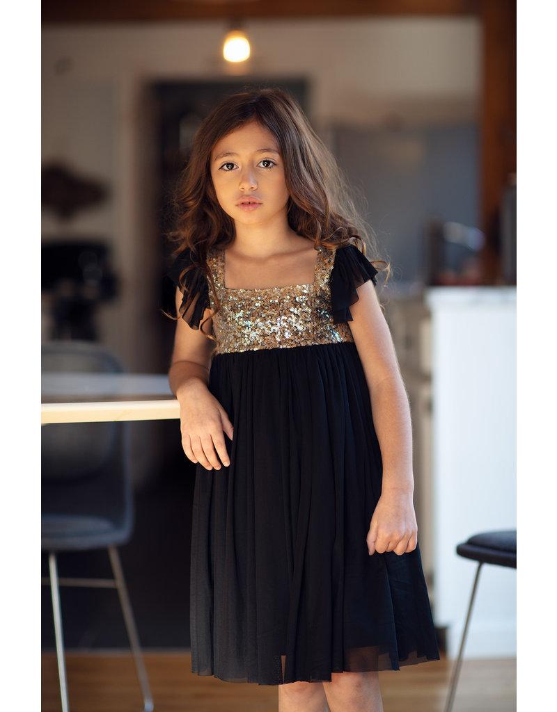 MUSTARD PIE SHIMMER DRESS- BLACK