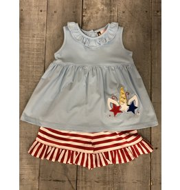 BANANA SPLIT PATRIOTIC UNICORN RUFFLE SHORT SET