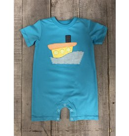 BANANA SPLIT TUGBOAT APPL KNIT ROMPER