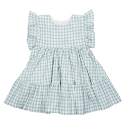 PINK CHICKEN KIT DRESS - DUSTY TEAL GINGHAM