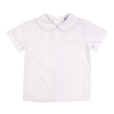 BAILEY BOYS WHITE BUTTON BACK BOYS SS PIPED SHIRT