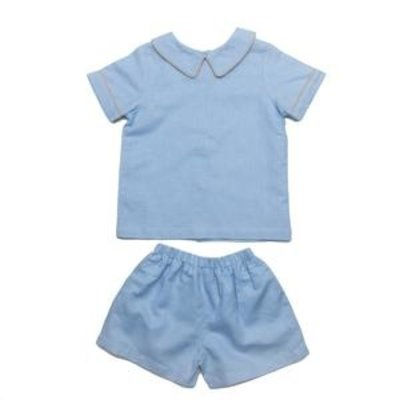 THE OAKS APPAREL COMPANY SANTIAGO BLUE AND TAN SHORT SET