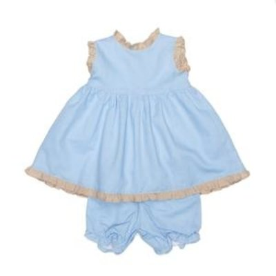 THE OAKS APPAREL COMPANY REAGAN BLUE AND TAN BLOOMER SET