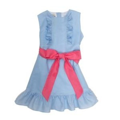 THE OAKS APPAREL COMPANY LEANNE BLUE LINEN DRESS W PINK BOW