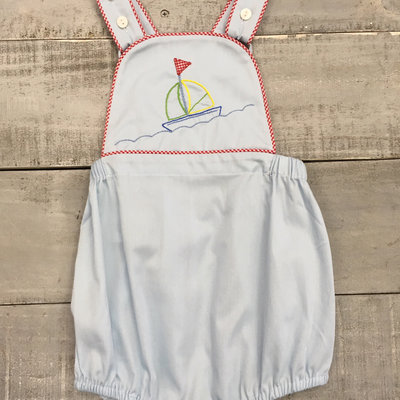 LULLABY SET SAMMY BOYS SUNSUIT- BLUE PIQUE W/RED MINI GINGHAM PIPING AND SAILBOAT EMB
