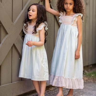 LITTLE PRIM MILLIE DRESS- SKY BLUE BISQUE