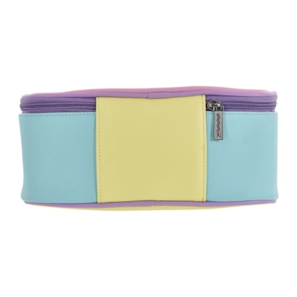 ISCREAM COLOR BLOCK FAUX LEATHER COSMETIC CASE