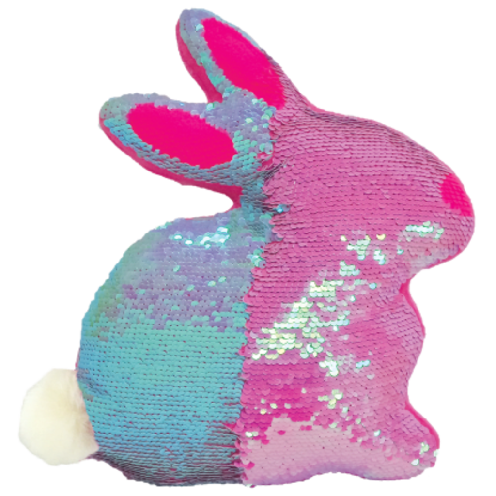 ISCREAM BUNNY REVERSIBLE SEQUIN PILLOW WITH FURRY TAIL