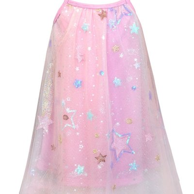 Baby Sara PINK MESH OVERLAY A-LINE DRESS