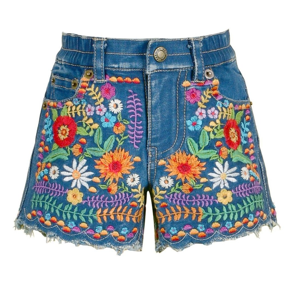Baby Sara RFFL DETAIL TOP W/TASSELS AND EMB DENIM SHORTS