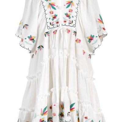 Hannah Banana BUTTON-UP FRONT KIMONO SLV DRESS- WHITE
