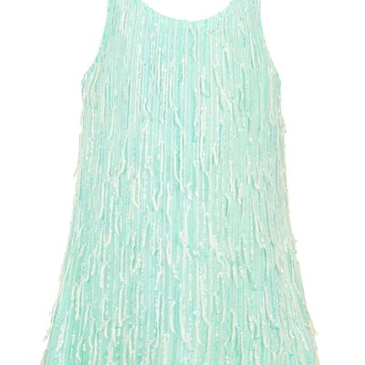 Hannah Banana FRINGE SEQUIN A-LINE DRESSY TANK DRESS