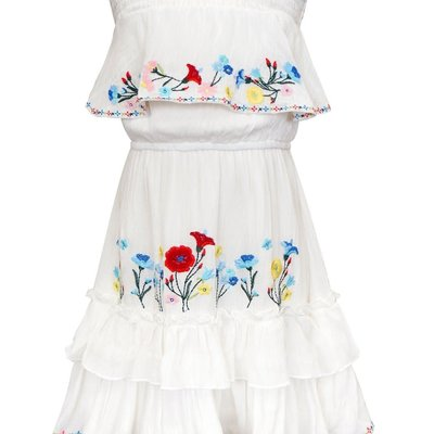Hannah Banana RUFFL TIERED MIDI DRESS W/ FLORAL EMBROIDERY