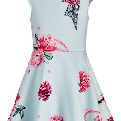 Hannah Banana JEWELED BOW AND FLORAL PRINT FIT AND FLARE SKATER DRESS