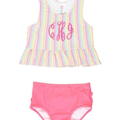 RUFFLE BUTTS RAINBOW STRIPE TANKINI