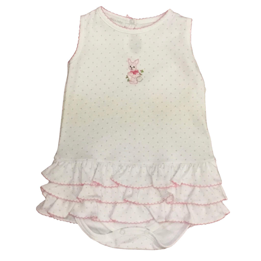 MAGNOLIA BABY VINTAGE BUNNIES EMBROIDERED RUFFLE BUBBLE