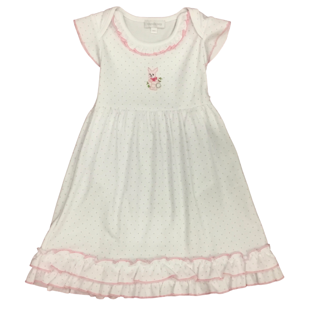 MAGNOLIA BABY VINTAGE BUNNIES EMBROIDERED RUFFLE DRESS SET