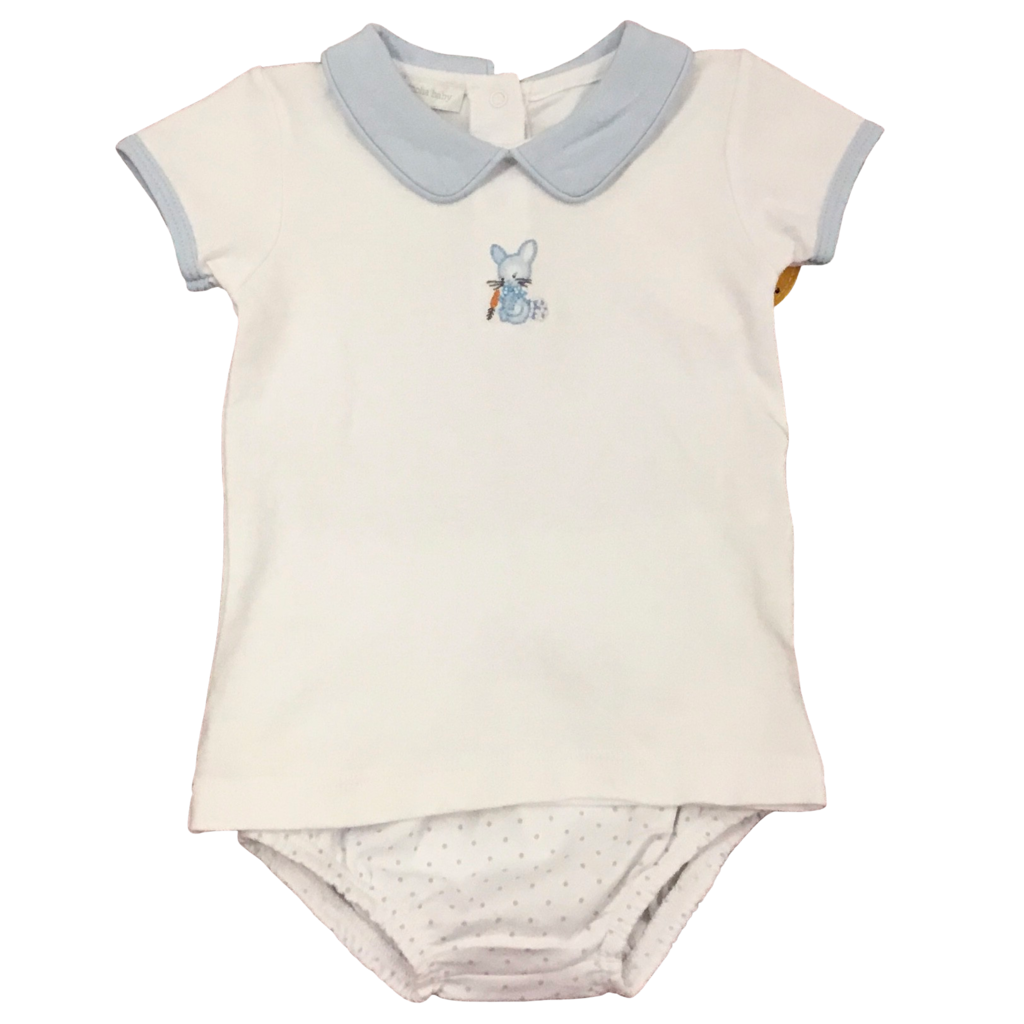MAGNOLIA BABY VINTAGE COTTONTAIL BUNNY EMB COLLAR DIAPER COVER SET