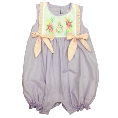 LOVE ME PURPLE ROMPER W HANDSTITCHED BUNNY