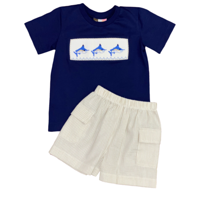 BANANA SPLIT BLUE MARLIN SMOCKED BOYS SHORT SET