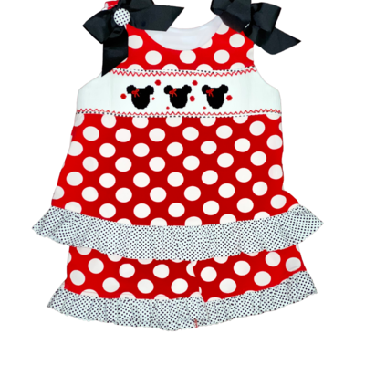 BANANA SPLIT MOUSE EARS SMOCKED A-LINE SHORT SET