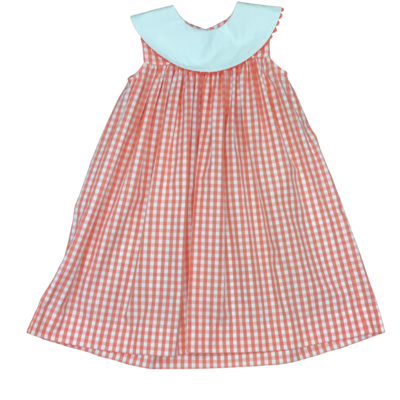 BANANA SPLIT MONO FLOAT DRESS- CORAL GINGHAM