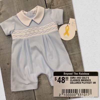 MAGNOLIA BABY CORA AND COLE'S CLASSICS SMOCKED COLLARED PLAYSUIT