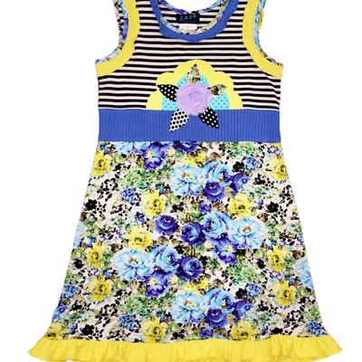 ZAZA COUTURE SEA SOUND FLOWER & STRIPE TUNIC DRESS