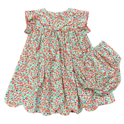 SAGE & LILLY CORAL BOUQUET SCALLOP COLLAR DRESS/BLOOMER SET