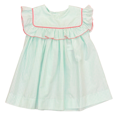 HONESTY SQUARE NECK RUFFLE DRESS- AQUA CHECK