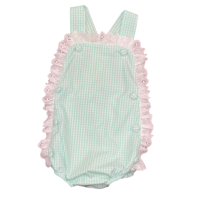 HONESTY RUFFLE BUTTON BUBBLE- AQUA CHECK