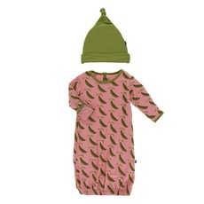 KICKEE PANTS PRINT GOWN AND SINGLE KNOT HAT SET
